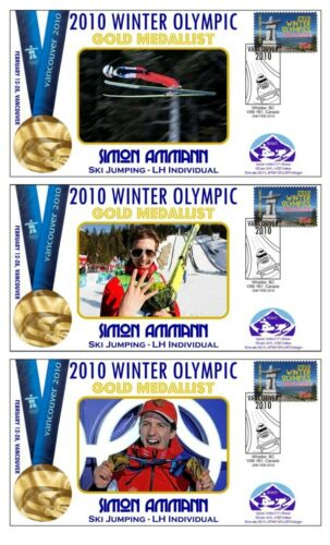 SIMON AMMANN 2010 OLYMPIC LH SKI JUMP SET OF GOLD COVs