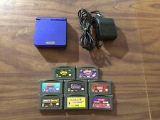 Game Boy Advance SP Blue System Bundle AGS 001 +Charger+ 8 Games - Crash + Spyro
