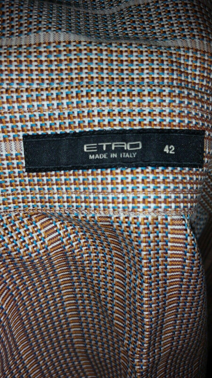 Etro Button Down Blouse Sz 42 braun Woven Material Excellent Condition
