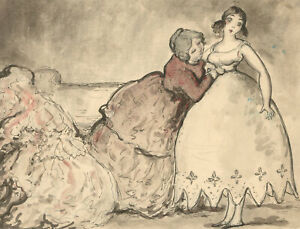 Harold Hope Read (1881-1959) - Pen and Ink Drawing, A Tight Dress Fitting