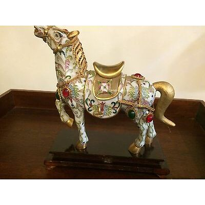 Vintage  Bejeweled Cloisonne charm Enameled Lucky Horse gold white Wooden Stand