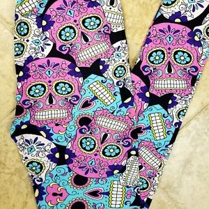 65fb8586d090f2 NWT Womens Sugar Skull Leggings Day Of The Dead Halloween Print Size ...
