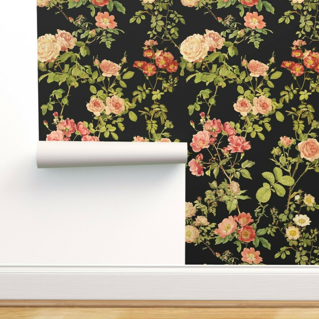 Removable Water-Activated Wallpaper Floral Retro Mid Century Modern Decor Green