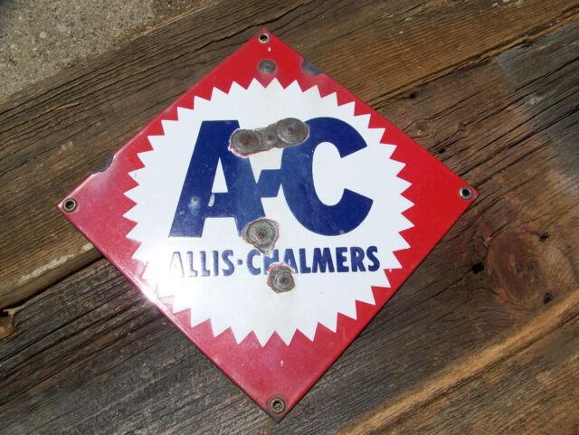 A-C Allis-Chalmers Porcelain Sign Farm Equipment Tractor Agriculture Vintage