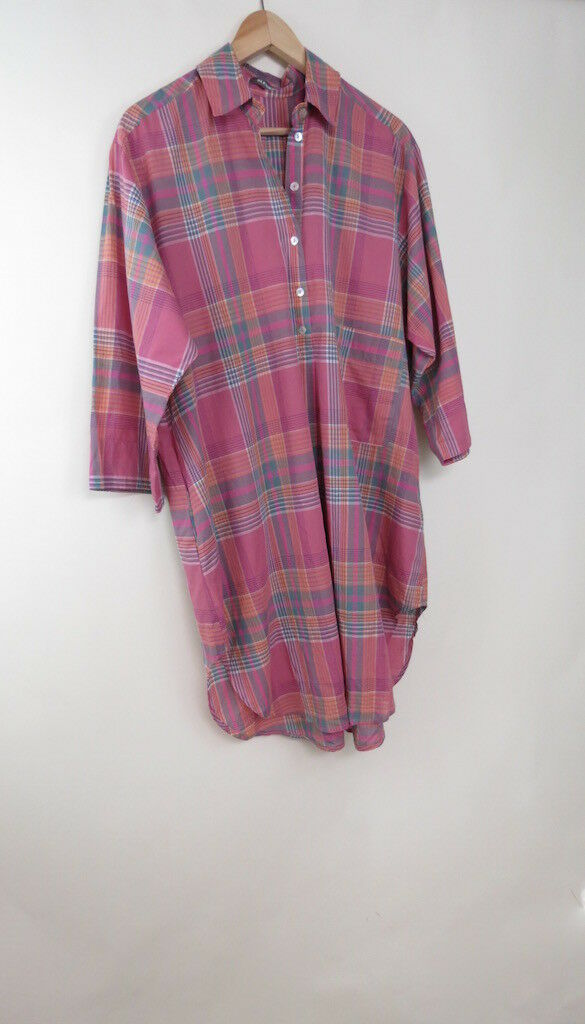 Alembika pink plaid cotton linen dress 2