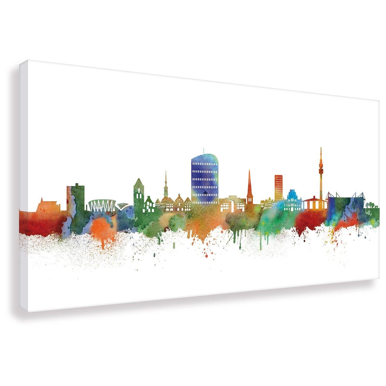 Panorama Wandbild von Dortmund Skyline Light Kunstdruck Leinwand (div.Größen)