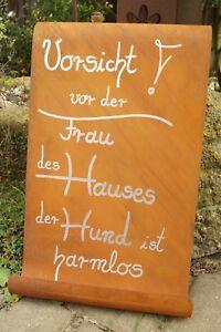 Edelrost Tafel Gewellt Mit Spruch Vorsicht Vor Der Frau 39x25cm