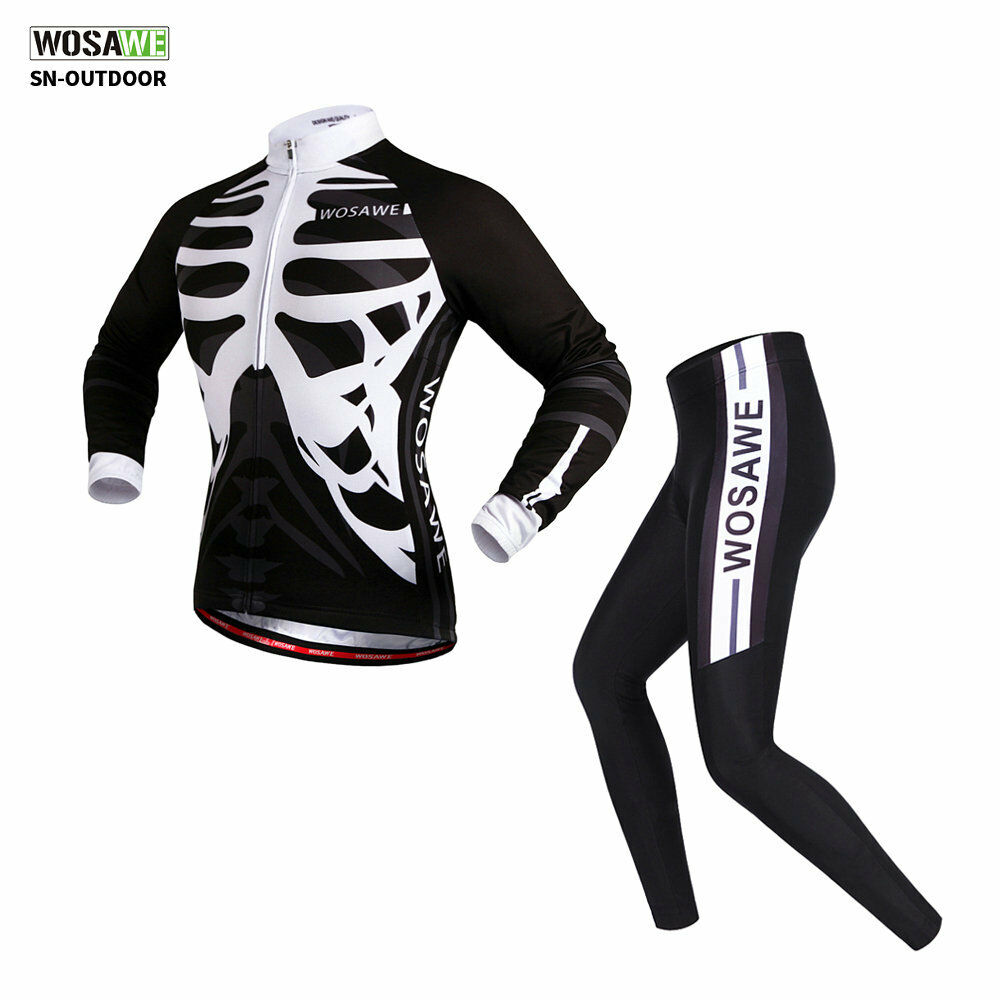 Men's Skeleton Cycling Set Long-Sleeved Jersey Padded Pants  Bike Bicycle Tights  amazing colorways