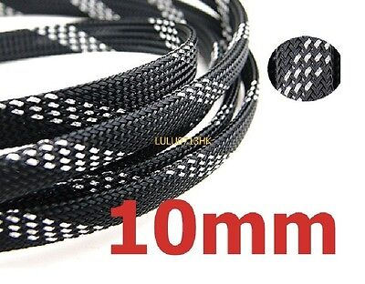 10mm Expandable Braided DENSE PET Sleeving Cable BLACK SILVER Audio PC Diy