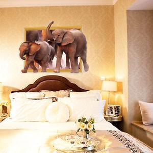... Wandaufkleber 3D Fenster Elefant Wohnzimmer Schlafzimmer Schick  eBay