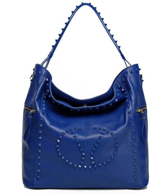 ALC® Raegan, Studded Italian Leather Bucket Tote w/ Strap- Blue
