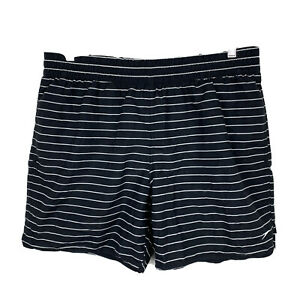 Speedo-Mens-Board-Shorts-Size-XL-Swim-Shorts-Black-White-Stripe-Elastic-Waist