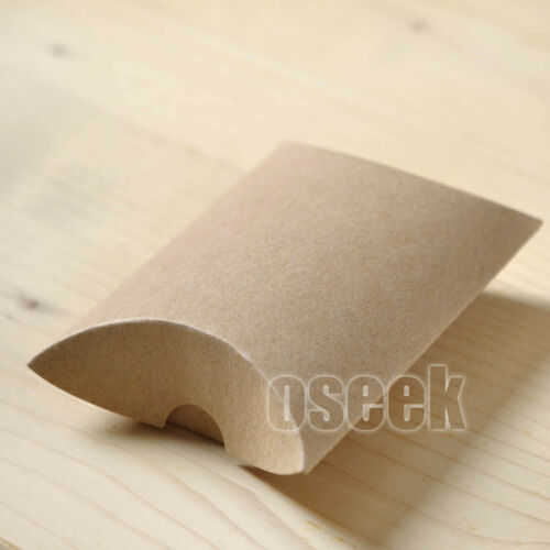 50 100 Pack Kraft Brown Paper Pillow Gift Candy Box Wedding Party Favors 20