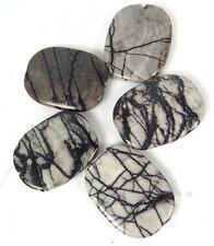 40x30mm Picasso Black Lined Webbed Jasper Oval Pendant Beads (5)