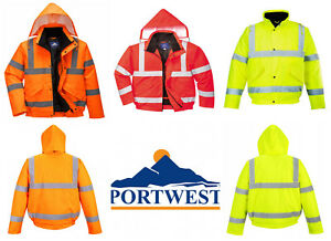 Personal Protective Equipment (PPE) Protective Jackets New Portwest Hi Vis Bomber Jacket Water Resistant Fleece Lined Hood Safety S463