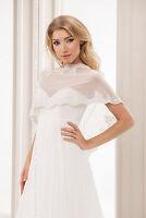 Wedding Tulle Ivory Bridal Shawl Wrap Stole Shrug Bolero Jacket S M L Xl