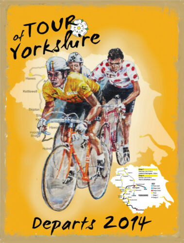 Cycle Road Race, Tour of yorkshire, Cycling, Bike, Large Metal Tin Sign, Picture