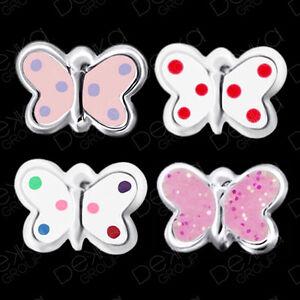925-Sterling-Silver-Butterfly-Stud-Earrings-Pink-Glitter-Rainbow-Dot-Spot-Purple