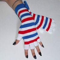 New Fingerless Red White Blue Striped Arm Warmer Gloves Gothic Lolita 80s Punk