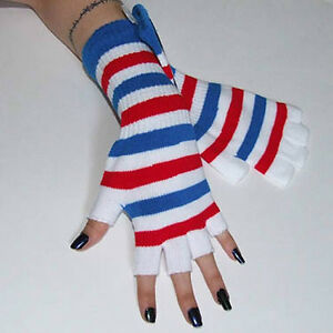 New-Fingerless-Red-White-Blue-Striped-Arm-Warmer-Gloves-Gothic-Lolita-80s-Punk