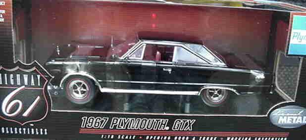 1967 Plymouth Gtx nero 1 18 carretera 61 50029