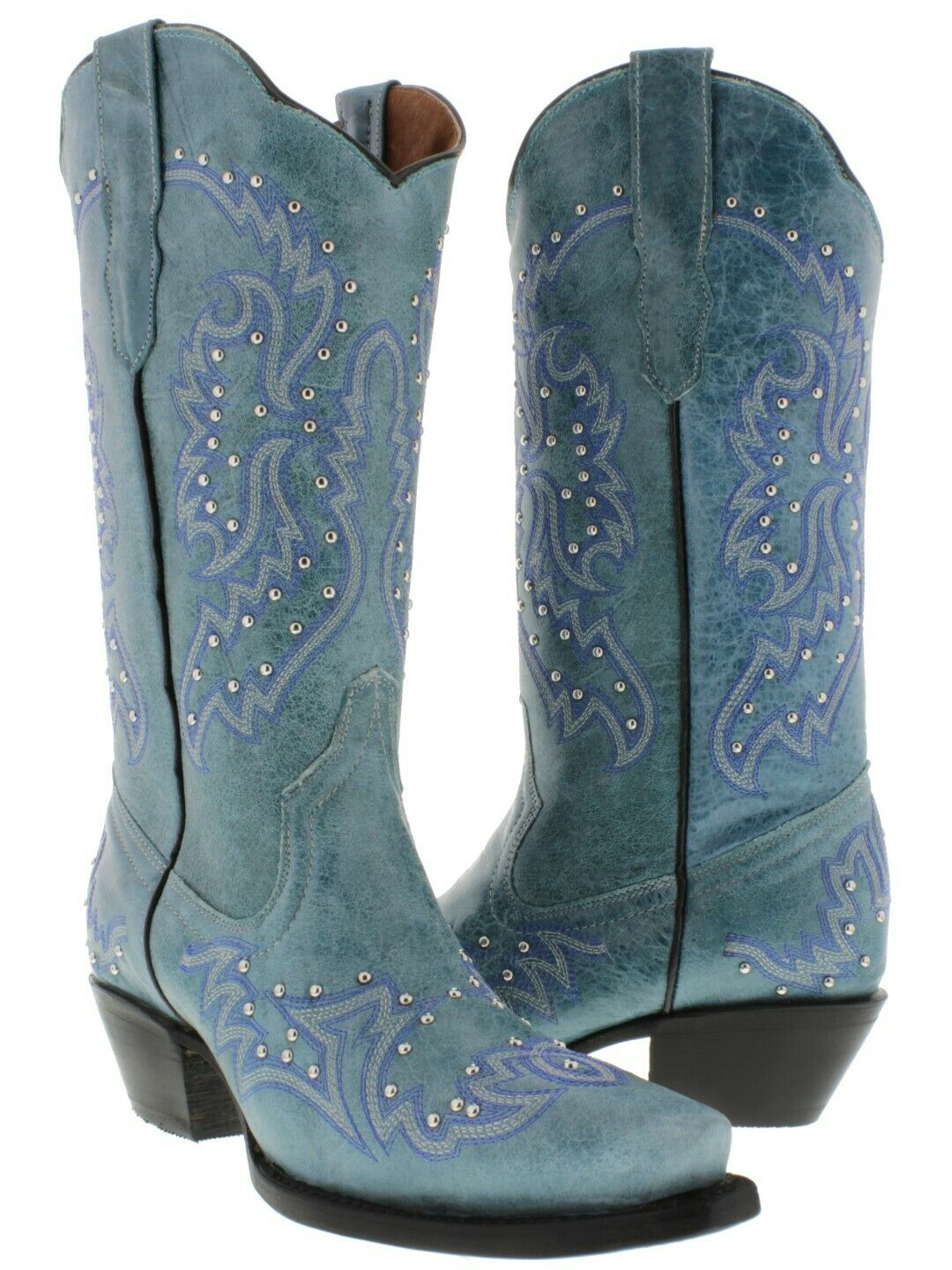 Womens Turquoise Western Cowgirl Boots Silver Studs Embroidery Snip Toe