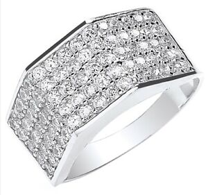 Men-039-s-9ct-White-5-Row-Cubic-Zirconia-Gents-Ring-UK-Jewellers
