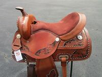 16 Barrel Racing Silver Show Floral Tooled Brown Leather Western Horse Saddle