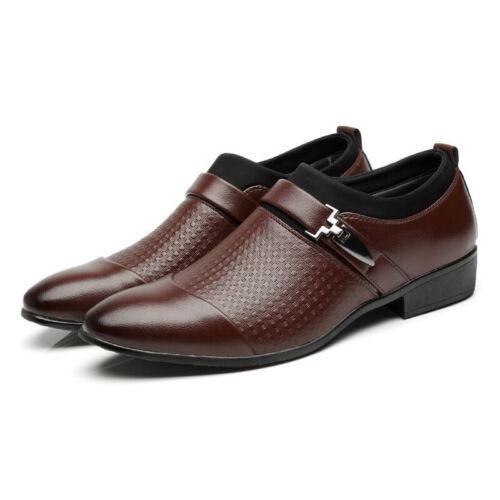 Men Leather Business Dress Shoes Oxfords Cap Toe Lace Up Soft Brogue Casual Size