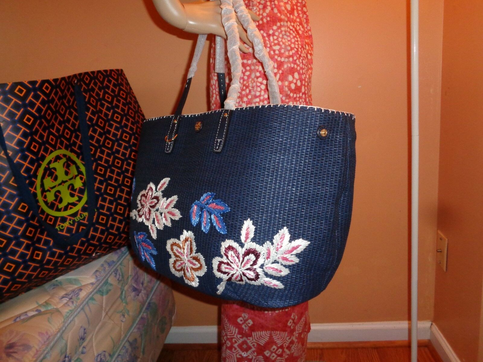 bdeaeef7fc68 Auth Tory Burch Kerrington Square Straw Navy Tote Purse Bag for sale online