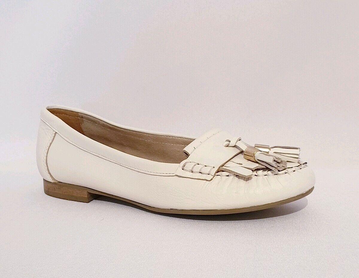 Carvela railleuse blanc en Cuir Véritable Mocassin chaussures Flats femmes UK 5