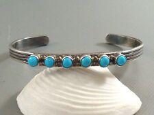 SIGNED Vintage NAVAJO Pawn STERLING SILVER & Snake Eye Turquoise Cuff Bracelet