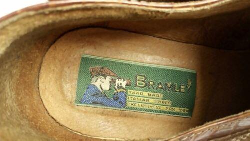44 Bramley Plain Derby Herren Schnürschuhe Braun Wildleder und Kroko Prägung Gr