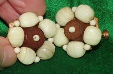 SIGNED MIRIAM HASKELL VANILLA HOWLITE STONE & WOOD RUSSIAN GOLD BIG VTG.EARRINGS