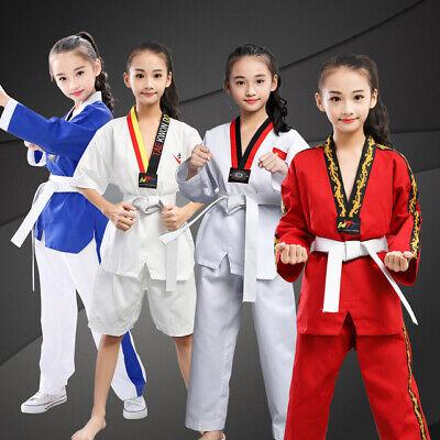 Adult Kid Taekwondo TKD Karate Martial Art Suit Uniform V-neck Costume Cloth Set
