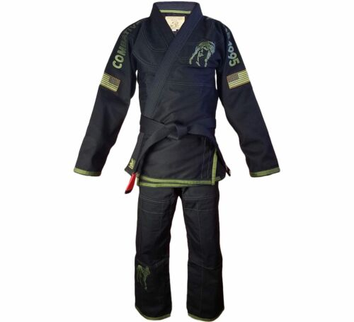 New Fuji Sports Combatives Mens Brazilian Jiu-Jitsu BJJ Gi Black w// Green