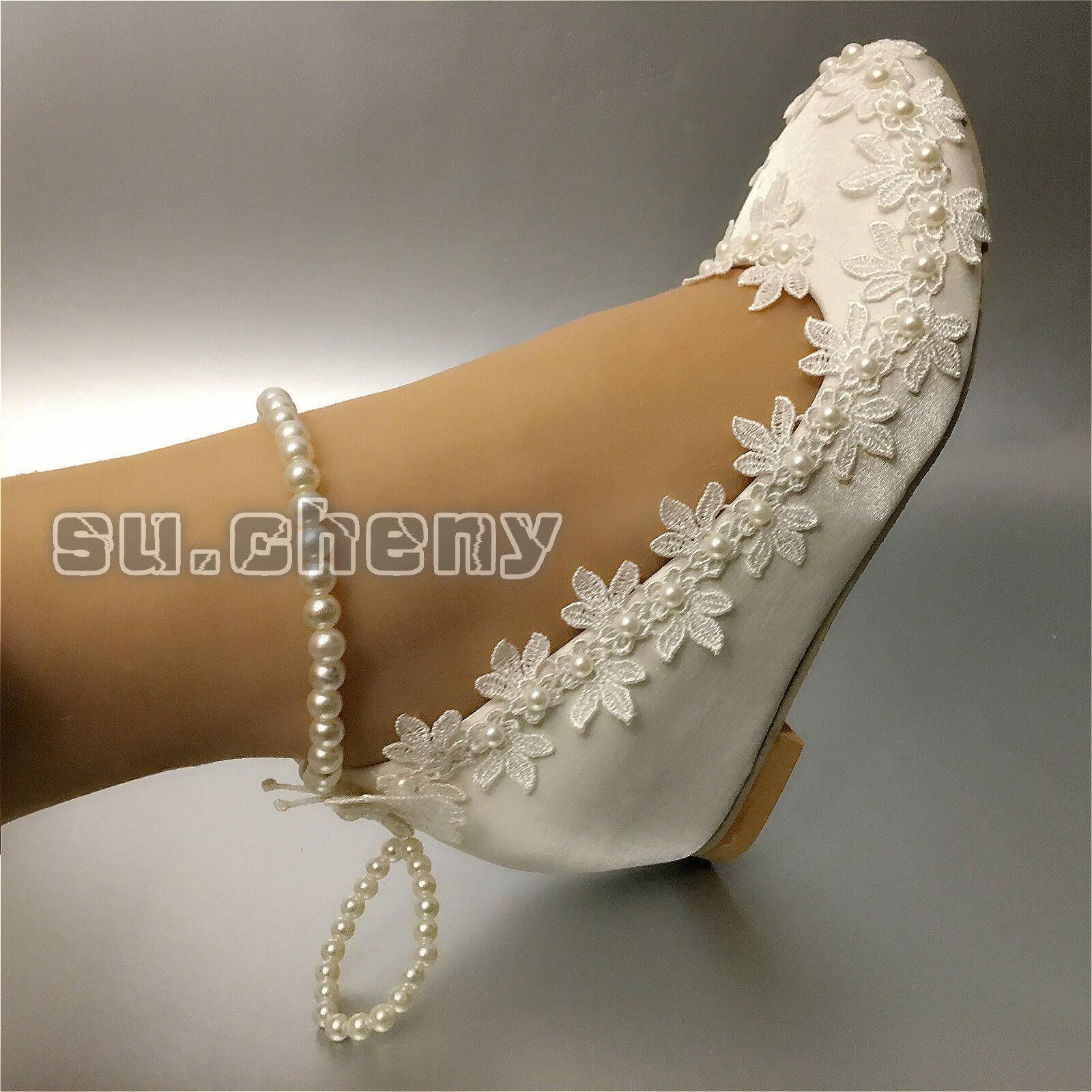 Su.cheny wedge silk Weiß heels lace satin Wedding schuhe Bride heels Weiß pumps Größe 5-11 bf5cad