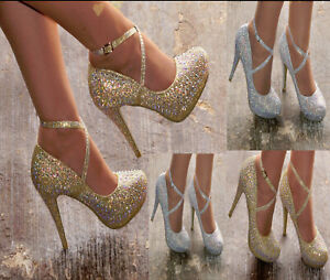 WOMENS SPARKLY DIAMANTE HIGH HEEL STRAPPY POINTED WEDDING EVENING PARTY SHOES