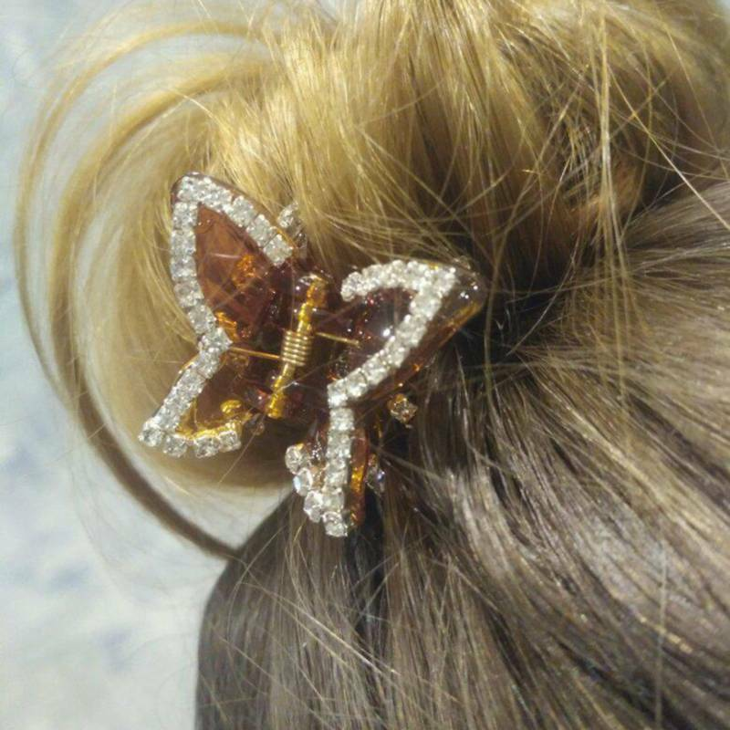 Women Vintage Butterfly Crystal Rhinestone Claw Hairpin Hair Clip Clamp J