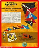 1971 Gayla Kite Advertising Refrigerator / Tool Box Magnet Gift Card Insert