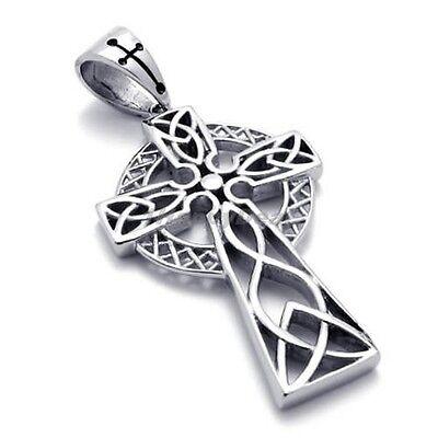 Unisex Mens Stainless Steel Irish Celtic Cross Pendant Necklace AD21756