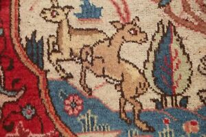 Vintage-Animal-Pictorial-Hunting-Design-Kashmar-Area-Rug-Hand-Knotted-Wool-10x13