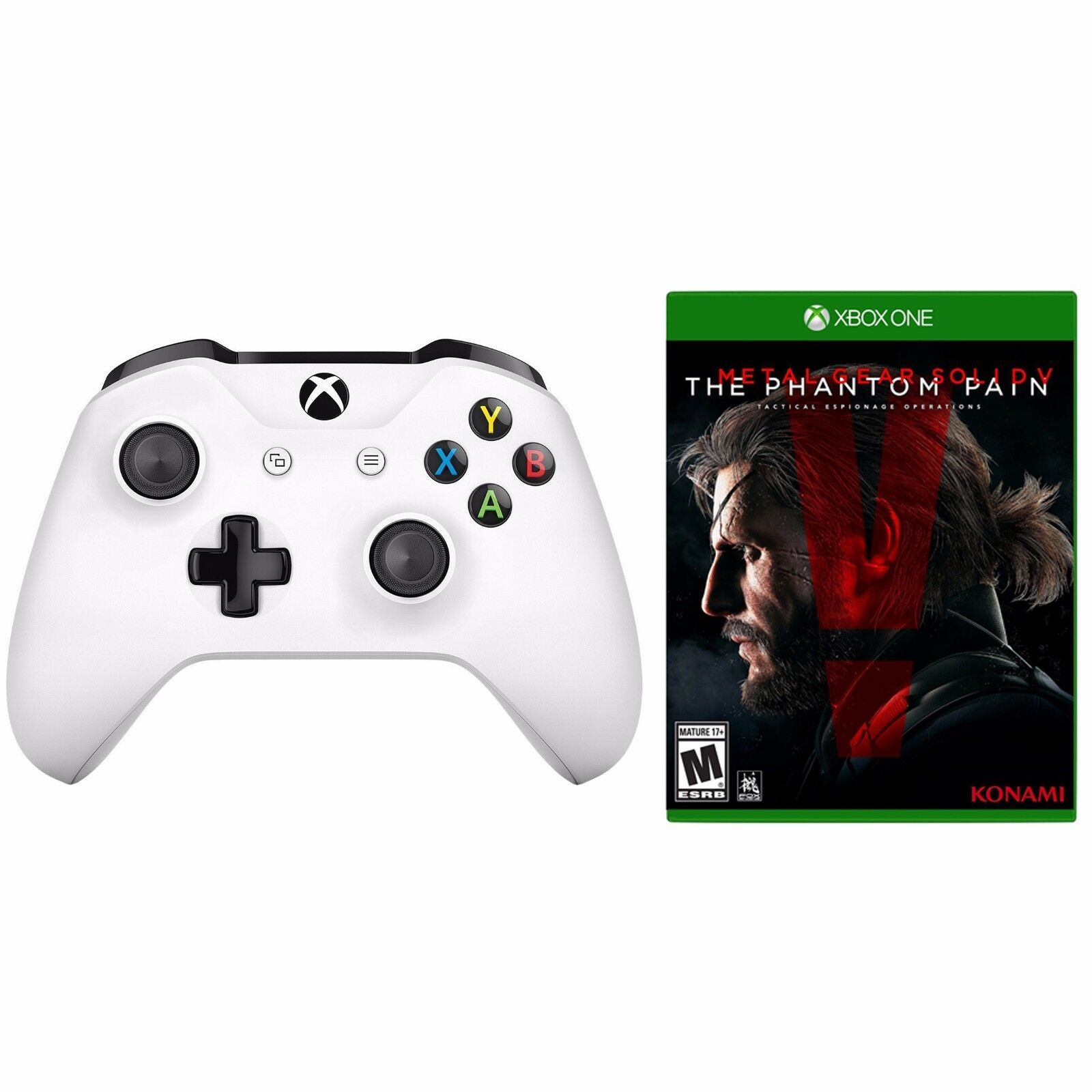 Xbox One S Wireless Controller (white) + Metal Gear Solid V: Phantom Pain Bundle