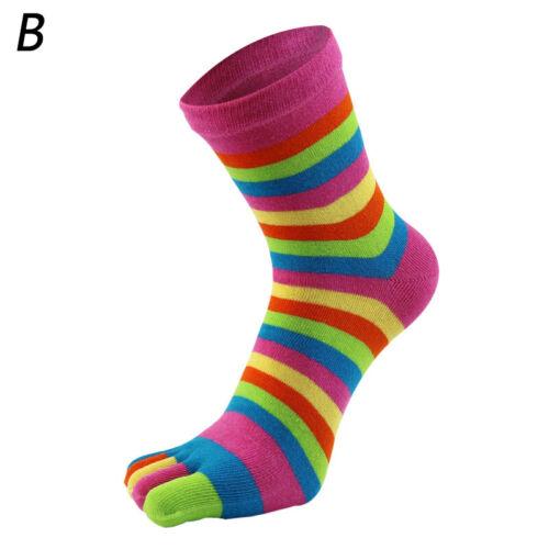Women/'s Cotton Toe Socks Striped Colourful Rainbow Anti-slip Five Fingers Socks