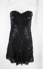 Oscar De La Renta Black Sweetheart Neckline Strapless Sequin Dress Size 8