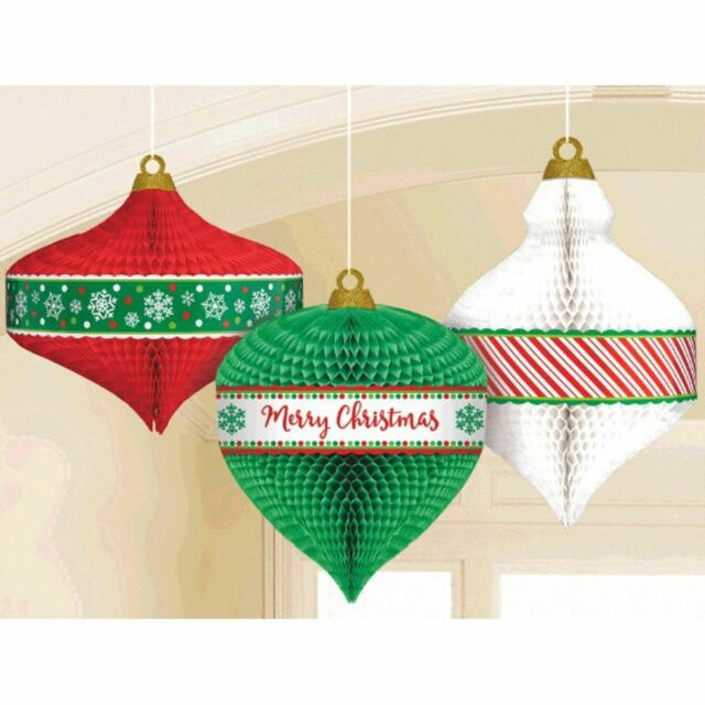 "Hanging Paper Honeycomb Style Christmas Ornament Decorations 11/""/&10.5/""/&9.7/"""