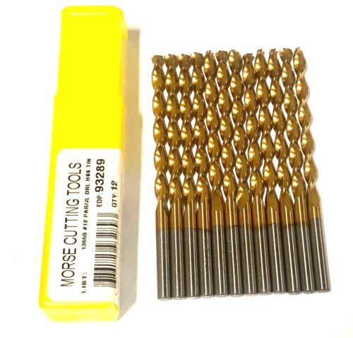 Morse No.12 Drill Bit Titanium Jobber Drills High Speed Steel Bits 12 Pack USA