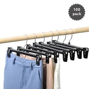 12 Pinch Grip Bottom Hangers Plastic Clothes Pants Jean Skirt Hanger Black Ebay