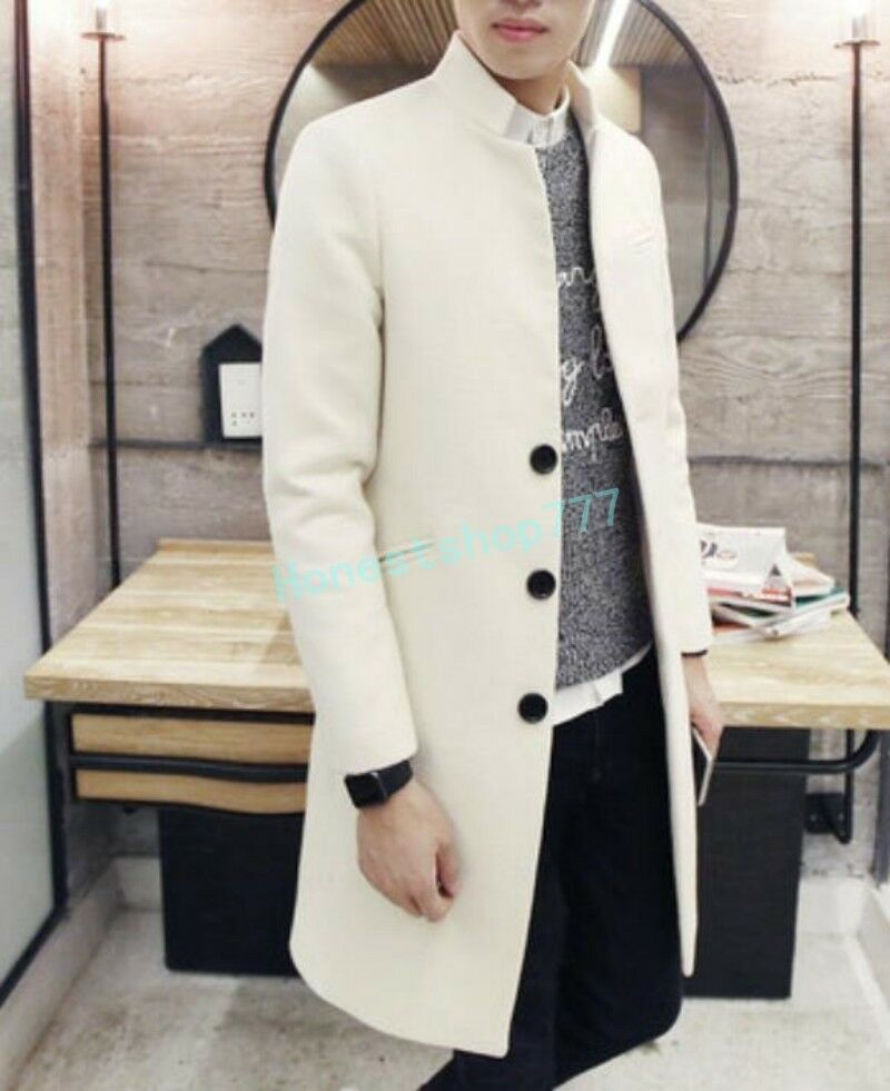 2017 Mens Single Breasted Long Coat  Trench Outwear Wool Blend Slim Stand Collar