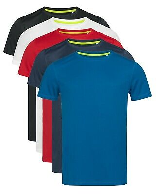 Uomo Tinta Unita Poliestere Traspirante Antisudore Atletico Sports Tee T-Shirt